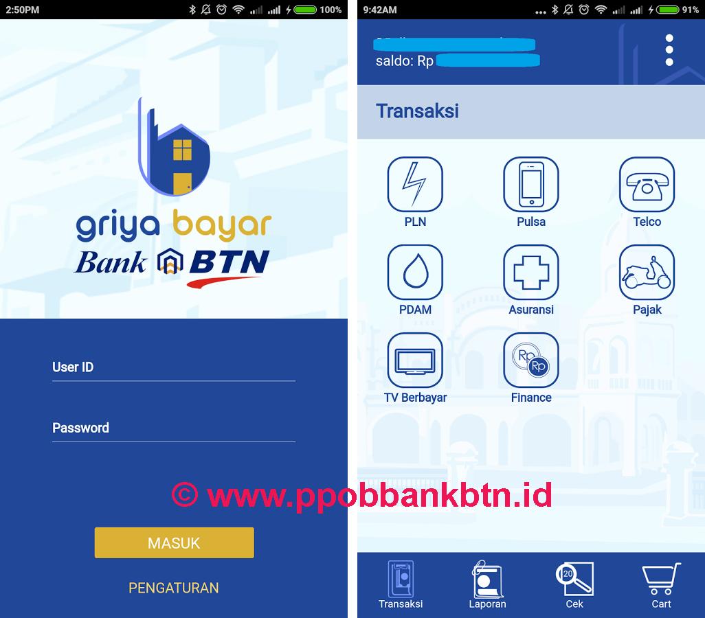 Aplikasi Android PPOB Bank BTN