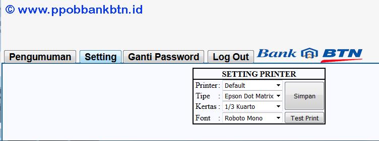 Cara Setting Printer PPOB Bank BTN